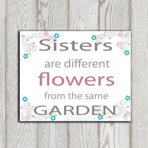 Sister quote print Gray pink turquoise teal Girls by DorindaArt, $5.00