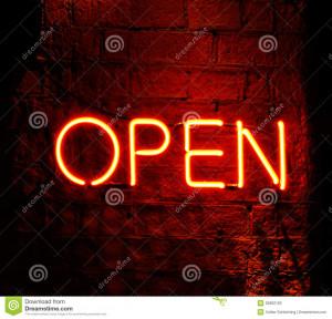 Stock Photo: Neon sign saying Open