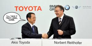 Akio Toyoda and Norbert Reithofer shake on it