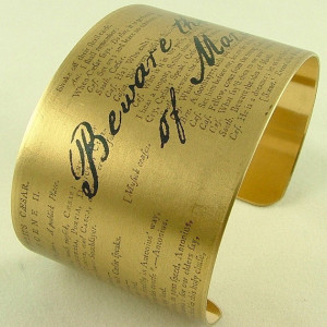 ... Quote Brass Cuff Bracelet Julius Caesar 'Beware The Ides Of March