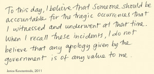 ... apology given by the government is of any value to me', attributed to