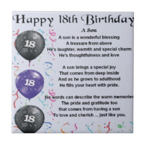Son 18th Birthday Gifts - Shirts, Posters, Art, & more Gift Ideas