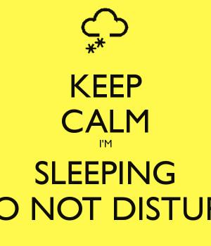 Do Not Disturb Sleeping Keep calm i'm sleeping do not