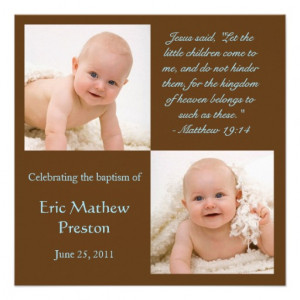 Baptism Photo Invite with Bible Verse from Zazzle.com