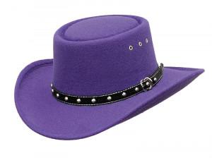 Purple Faux Felt Gambler Hat *elastic - PURPLE PASSION