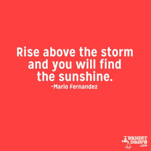 """Rise above the storm and you will find the sunshine."""" ~Mario ..."""