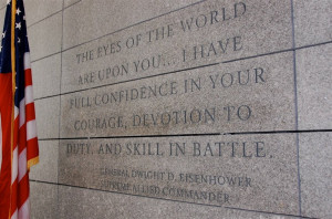 Eisenhower quote on the wall of the visitor's center at the Normandy ...