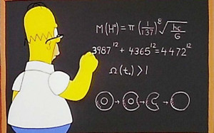 In one of many mathematical gags, Homer's second equation appears to ...