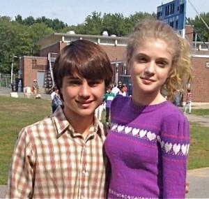 Labor Days' Gattlin Griffith (Henry) and Elena (Rachel McCann) on set.