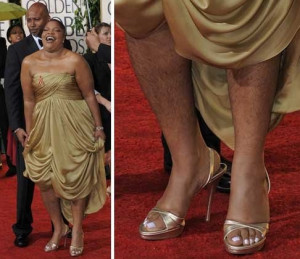 Mo'Nique Shows Hairy Legs At 2010 Golden Globes!