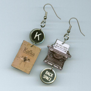 The Metamorphosis Book Cover Earrings Franz KAFKA Vintage Typewriter ...