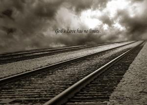 Railroad Tracks Storm Clouds Inspirational Message Photograph