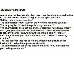 Funny Divorce Quotes Divorce vs murder