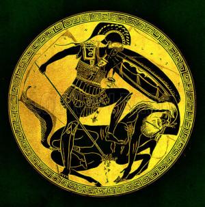 Greek warrior and centaur. Illustration from Greek Vase Paintings by J ...