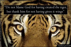 Do not blame God for having created the tiger, but thank him for not ...