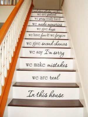 In this house - STAIR CASE Stairway - Art Wall Decals Wall Stickers ...
