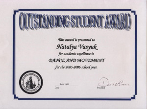Outstanding Student Award Certificates