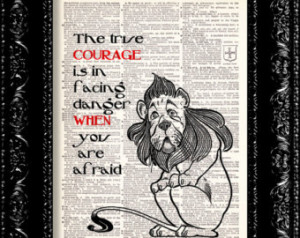 Wizard Of Oz - Cowardly Lion Courag e Quote - Dictionary Print Vintage ...