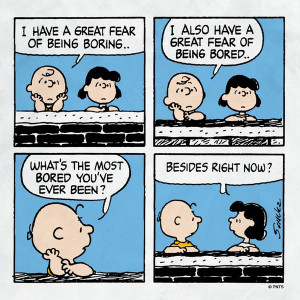 Charlie Brown is bored.