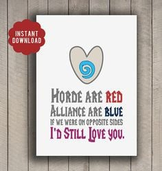 INSTANT DOWNLOAD Valentine World of Warcraft WoW poem card geeky 5x7 ...