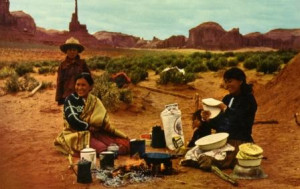 Navajo Lunch on the Range while tending the sheep - a cook out - looks ...