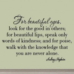For Beautiful Eyes Audrey Hepburn Quotes Wall Decals Girls Beautiful ...