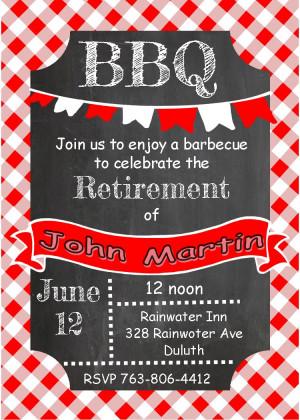 Chalkboard and picnic cloth Anniversary - BBQ Party Invitations