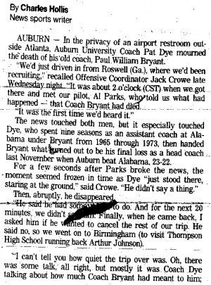 Did Auburn students celebrate Bear Bryant's death by rolling Toomer ...