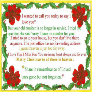 Merry Christ mas to all those in Heaven!