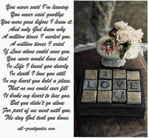 You never said I'm leaving You never said goodbye – Sympathy Card ...