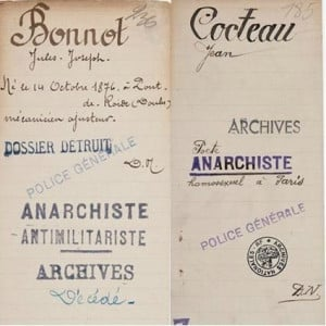 .Anarchiste. Antimilitarists. Archives. Police Generale. Jean Cocteau ...