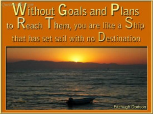 Without Goals And Plans To Reach Them, You Are Like A Ship That Has ...