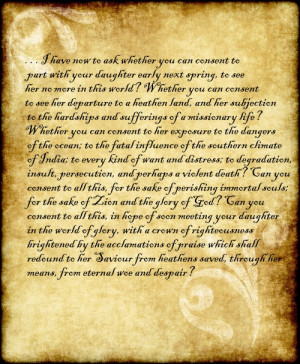 letter written from Adoniram Judson to his future father-in-law