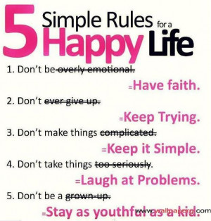 five simple rule to be happy category funny quotes free funny ...