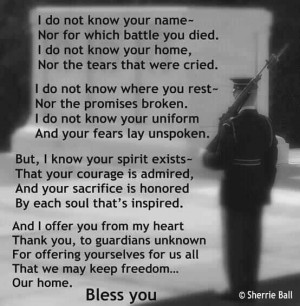 Bless you - the tomb of the Unknown Soldier.