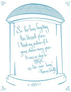 UNC Chapel Hill print. Quote by novelist Thomas Wolfe More
