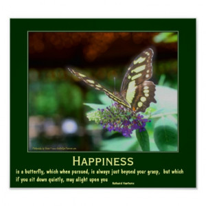 Happiness Butterfly Motivational Quote Print