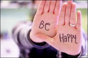 Quote, be-happy, girl, hand, cute