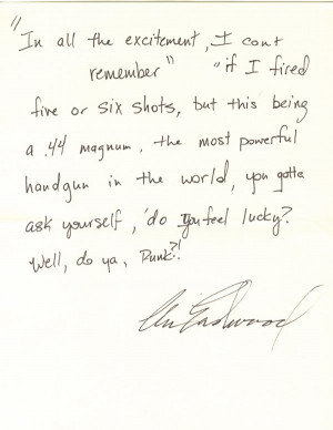 31: Clint Eastwood Handwritten Quote from