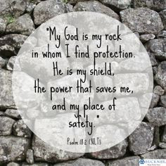 My God is my rock, in whom I find protection. He is my shield; the ...