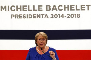 Chile's President-elect Michelle Bachelet answers a question during a ...