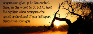 Anyone can give up. It's the easiest thing in the world to do. But to ...