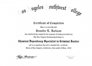 Chemical Dependency Specialist Certificate in Criminal Justice