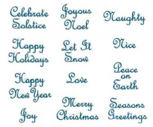 Holiday Sayings designs fit the 4-inch hoop. The lettering has been ...