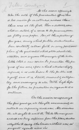 Copy of the second Inaugural Address; endorsed by Lincoln, April 10 ...