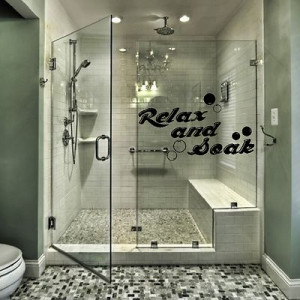 ... Soak Quote Bathroom Wall Sticker Shower Vinyl Bubbles Decal Home Q55