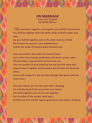 """Wedding Reading: """"On Marriage"""" from Kahlil Gibran's The Prophet"""