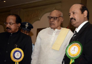 from left) Union Minister of Corporate Affairs M. Veerappa Moily ...