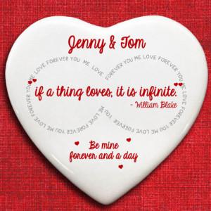... > Personalised 'Infinite Love' William Blake Quote Heart Keepsake