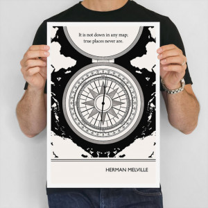 Literary Poster, Herman Melville Illustration Quote Nautical Art Print ...